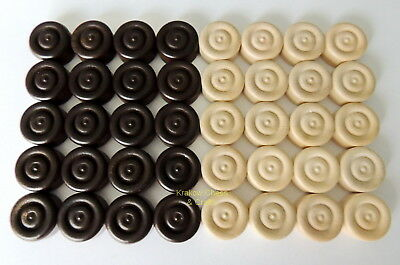 Brand New Set Of 40 International Wooden Checkers Pieces 25Mm / 1.0 Inch