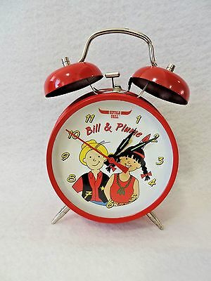 BUFFALO GRILL BILL & PLUME alarm clock red working condition wind up