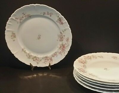 "SET 6 Antique MABEIN Habsburg China Plate  9.75"" Pink Flowers Blossoms  Austria"