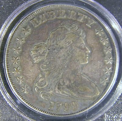 1799 Draped Bust Dollar PCGS VF35 Scarce Very Pretty Coin With Original Surfaces