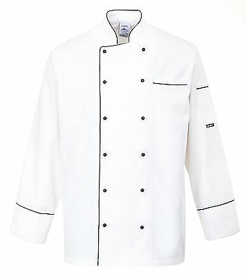 Chefs Jacket long sleeved white chefswear 100% cotton catering Size xs-xxl  C775
