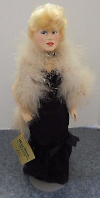 Effanbee 1982 Vintage Mae West Porcelain Doll In Black Gown Feather Boa  & Tag