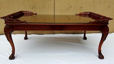 English Chippendale Mahogany Coffee Table w/glass top (Antique, Carvings, Rare)