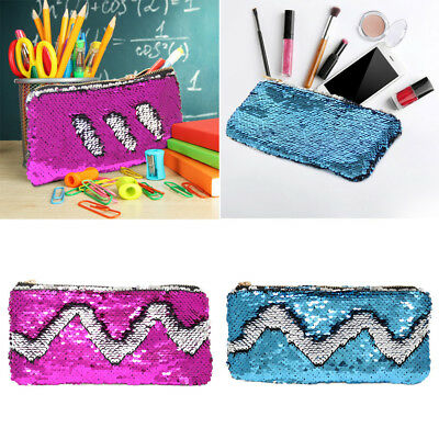 48dc225aa1 Mermaid Sequin Pencil Case Cosmetic Makeup Coin Pouch Organizer Zipper Purse  Bag