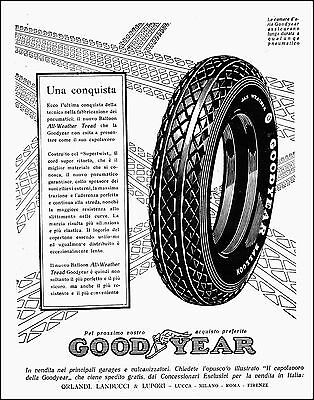 Pubblicita' 1927 Gomme Pneumatici Good Year Ballon All Weather Tread Battistrada