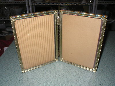 """Vintage Double Hinged Picture Frame Ornate Gold Tone Metal 5"""" x 7"""""""