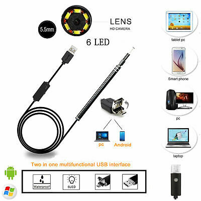 USB Ear Endoscope Visual Earpick with Mini Camera Otoscope Spoon Cleaning Tool