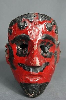 Hand carved Vintage Devil Ceremonial Dance Mask from Guatemala