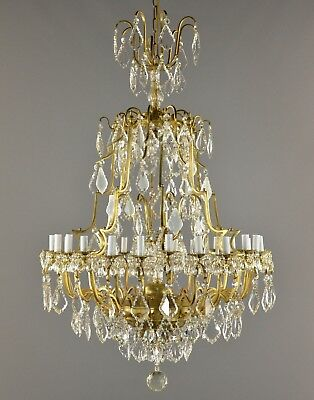 Huge Marie Therese Crystal & Brass Bronze Chandelier c1930 Vintage Antique Ceili