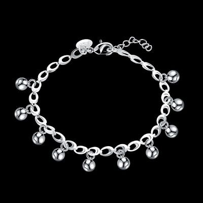Wholesale Fashion 925Sterling Solid Silver Jewelry Bells Chain Bracelet H611
