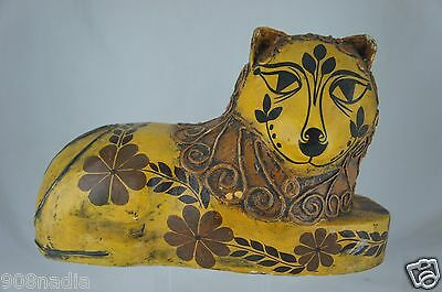 Vintage Mexico Foll Art Paper Mache Lion,fox,wolf Or Cat Yellow Figurine Signed