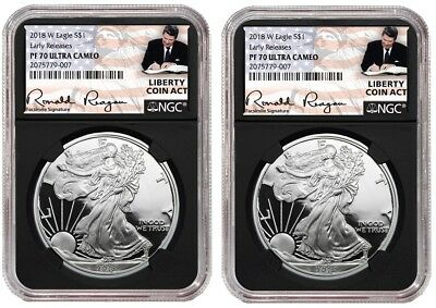 2018 W Silver Eagle Proof NGC PF70 UC - ER Liberty Coin Act Black Core 2 pack