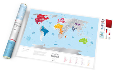 BIG SILVER SCRATCH Off Travel Map + Gift Tube Detailed World Push ...