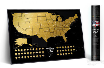 Gold Scratch Off Travel Map Of Usa Detailed Map Push Pin Poster Scratch Card