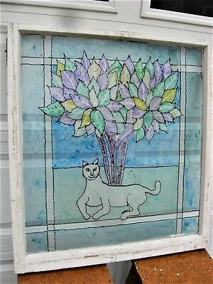 Antique Hand-Painted Stained Glass Window Primitive Cat Bush Leaves-