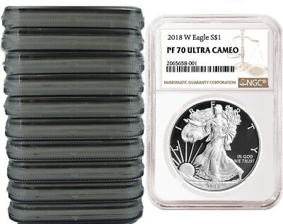 2018 W Silver Eagle Proof NGC PF70 Ultra Cameo - Brown Label - 10 pack
