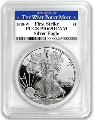 2018 W Silver Eagle Proof PCGS PR69 First Strike - West Point Label