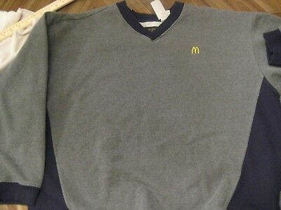 McDonalds Apparel Collection Gray Black Sweater Crewneck V-neck Adult XL