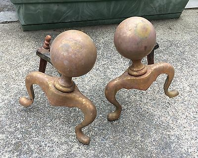 EARLY 19th CENTURY FIREPLACE CANNON BALL ANDIRONS with Log Stops Vtg Antique