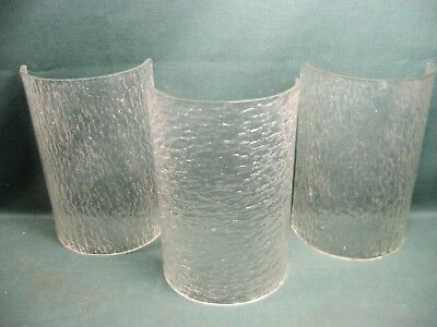 3 Vintage Pressed Glass Lamp Slip Shades Lighting-