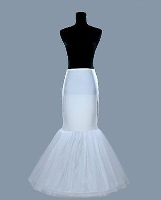 White Wedding Bridal Hoop Crinoline Mermaid Petticoat Slip Underskirt
