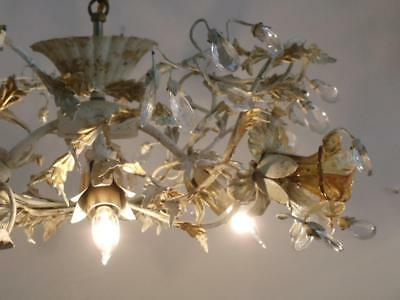 Vtg Italian Murano Glass Flowers Gold Tole Crystal Chandelier Ceiling Light Lamp