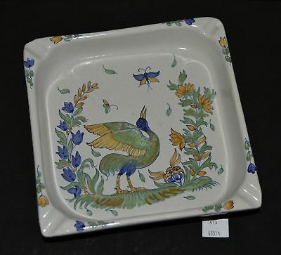 ThriftCHI ~ Delft Large Ceramic Ashtray w Hand Painted Bird Design
