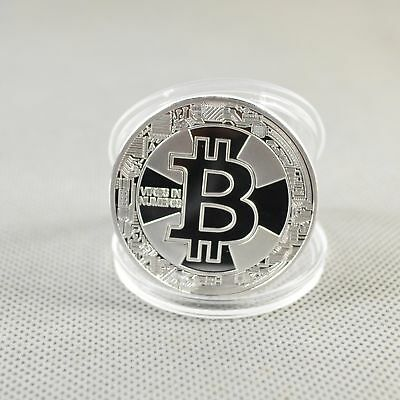 Nice Silver Plated Commemorative Bitcoin Collectible Golden Iron Miner Coin