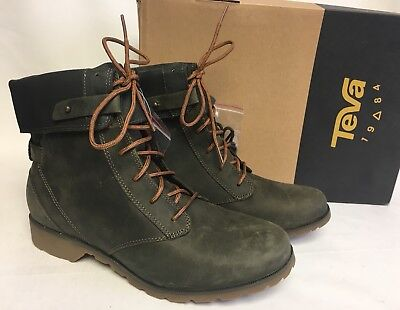 40a8a800c8764 TEVA DELAVINA LACE Up Dark Olive LEATHER MID-CALF WOMEN S BOOTS Waterproof  WP