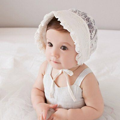 Infant Newborn Baby Girls Kids Embroidery Lace Hat Cap Bonnet Hair Hollow Hats
