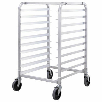10 Sheet Aluminum Bakery Rack Commercial Cookie Bun Pan Kitchen w/Wheel