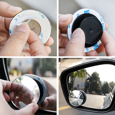 1Pair Wide Angle Convex Car Blind Spot Round Stick-On Side View Rearview Mirror