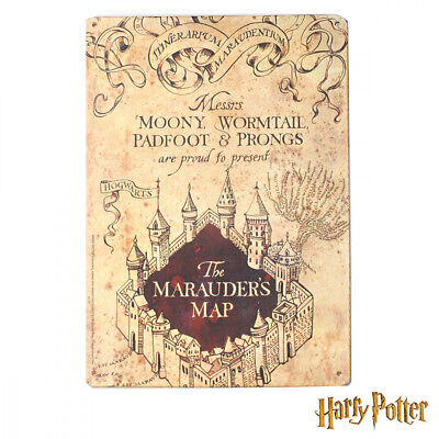 Harry Potter Cartello Metallo Mappa Del Malandrino Marauder's Map Tin Sign 15X21