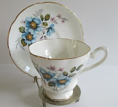 Royal Grafton Bone China Made in England Cup and Saucer Blue Flowers