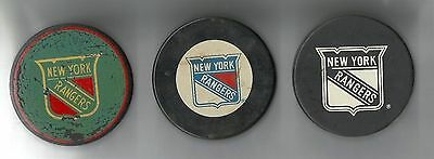3 Generations of NEW YORK RANGERS PUCKS Warm up puck 60's VINTAGE lot of Three 3