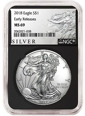 2018 1oz Silver American Eagle NGC MS69 ER Liberty Label Black Core