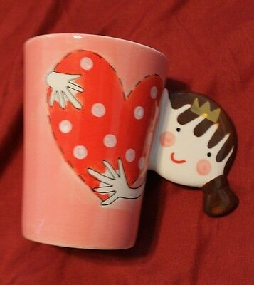 Indra Fine Stoneware Coffee Cocoa Mug Cup Hand Painted Valentines Heart Girl