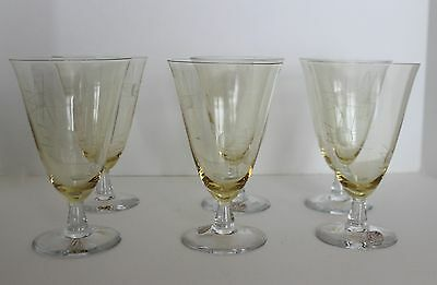VTG Bryce Crystal Yellow Simplicity Water Goblet Starburst Etch Set 6 Retro RARE