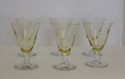 VTG Bryce Crystal Yellow Simplicity Wine Glass Starburst Etch Set 6 Retro RARE