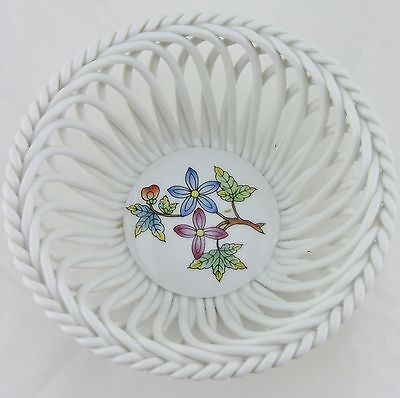 Vintage Small White Porcelain Basket Flower Bouquet Hand Painted Signed Herend