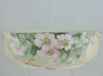 Antique Limoges Hand Painted Apple Blossom Or Dogwood Flowers Bowl Pastel Green