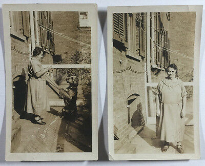 Pair of Vintage B&W Snapshot Photographs, Woman Performing Trick With Dog 1920s
