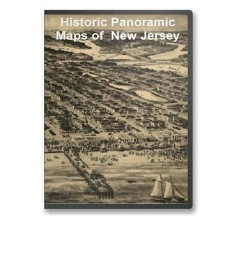 New Jersey NJ -  43 Vintage Panoramic City Maps on CD - B175