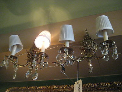 Very Elegant Pair Of 2 Lights Bronze Sconces With Crystal Drops