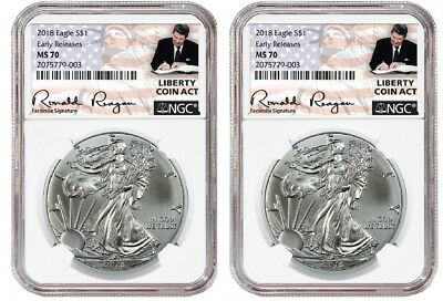 2018 1oz Silver Eagle NGC MS70 ER Liberty Coin Act - White Core - 2 Pack