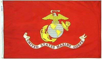 UNITED STATES MARINE CORPS 3/'X5/' 2PLY ROUGHTEX EMBROIDERED USMC FLAG 210D NYLON