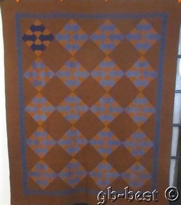 """Indiana Amish c 1900-20s Bow Tie Antique QUILT 86"""" x 70"""" RARE collection"""