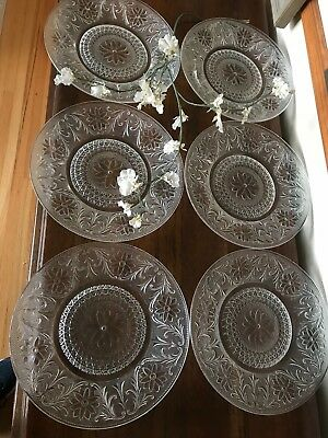 "6!!!  VINTAGE Duncan Miller SANDWICH GLASS PATTERN 10 3/8"" DINNER PLATES"
