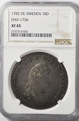 1782 OL 1R Sweden Riksdaler Silver Coin Rare KM# 527 NGC XF45