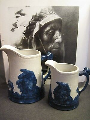 2 Antique SLEEPY EYE Stoneware Pitchers Cobalt Gray Sioux Indian Chief Teepees